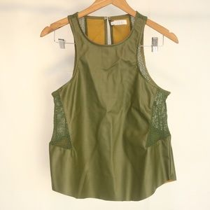 Tobi Women's XS Tank Faux Leather Mesh Inset Green
